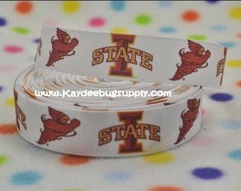3 yards Iowa State University - Cyclones - 7/8 inch - Printed Grosgrain Ribbon