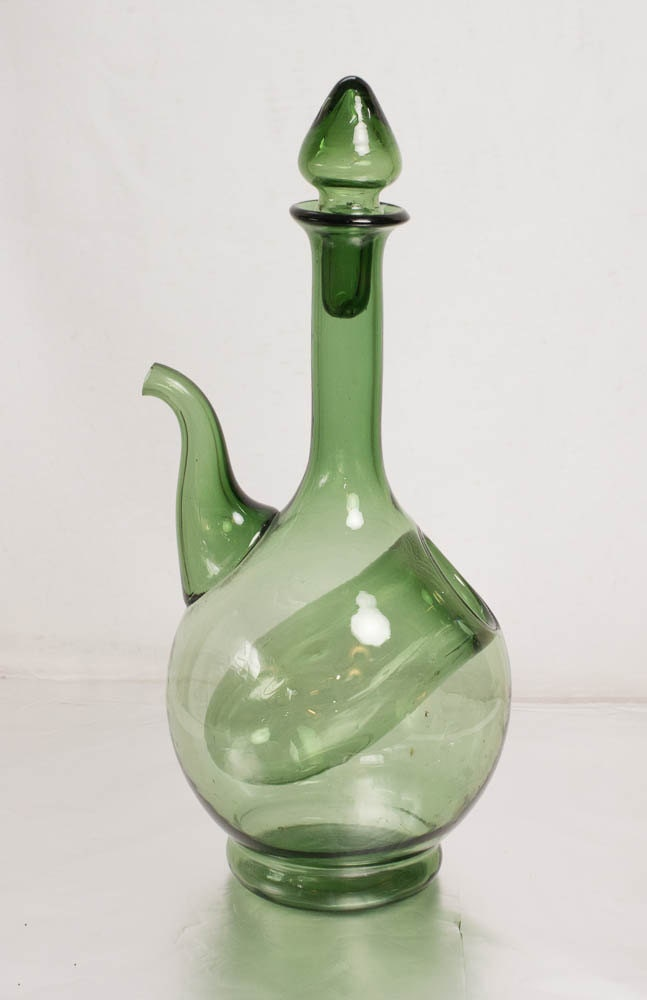 Chilled Wine Decanter Vintage Italian Green Glass Carafe Hand