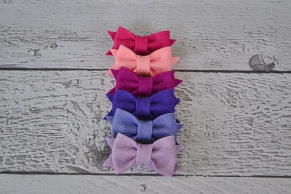 Purple and Pink Set of Six Mini Wool Felt Bow Clips for Women, Girls and Babies