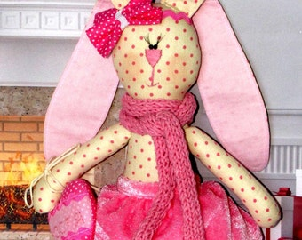 Cloth doll. Bunny doll. Bunny with a heart. Cloth toy. Rag doll. Stuffed animal.  Bunny with pink dots. Granddaughter gift. Gift for girls.