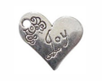 8 Silver Joy Affirmation Heart Charm Pendant 18x21mm by TIJC SP0303
