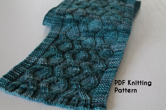 Knitting Pattern Wavy Scarf : PDF Knitting Pattern: Oscillation Scarf textured scarf with a