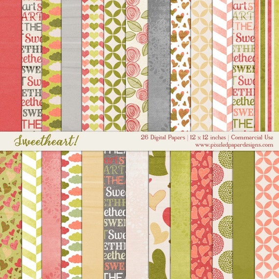 Free Digital Paper Pack - Sweetheart