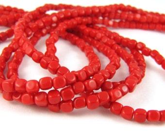 Opaque Red 4mm Cube Czech Glass Beads 100pc  #74