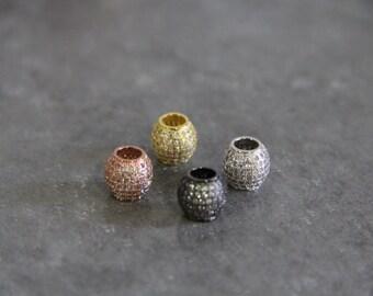 CZ Micro Pave 11mm Round Big Hole  Beads