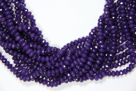 "Purple Jade 8x5mm faceted roundel beads 16"" length full strand"