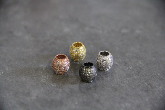 CZ Micro Pave 11mm Round Big Hole  Beads