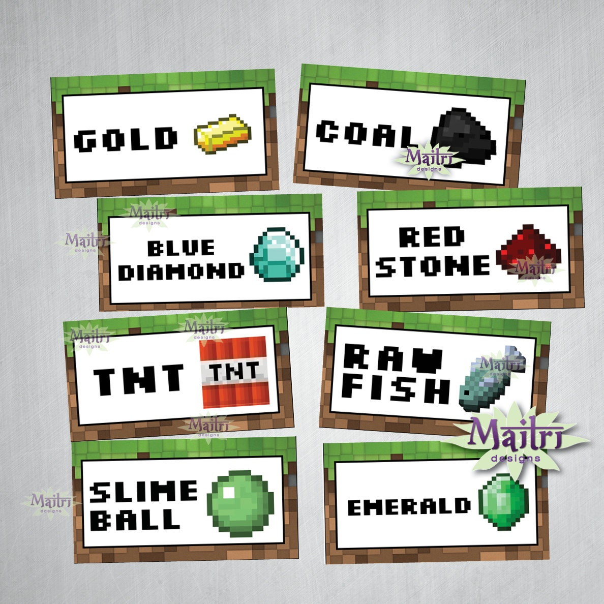 Free printable minecraft food tent labels car interior for Cuisine minecraft