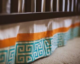 Crib Skirt - Orange and Aqua