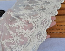 Cotton Tulle Lace Trims Beige Embroidery Lace Fabric for Floral, Sewing, Costume, Supplies