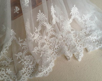 White Lace Fabric, Cotton Pizzo, Vintage Embroidered Lace Trim, Wide Tulle Lace Trim