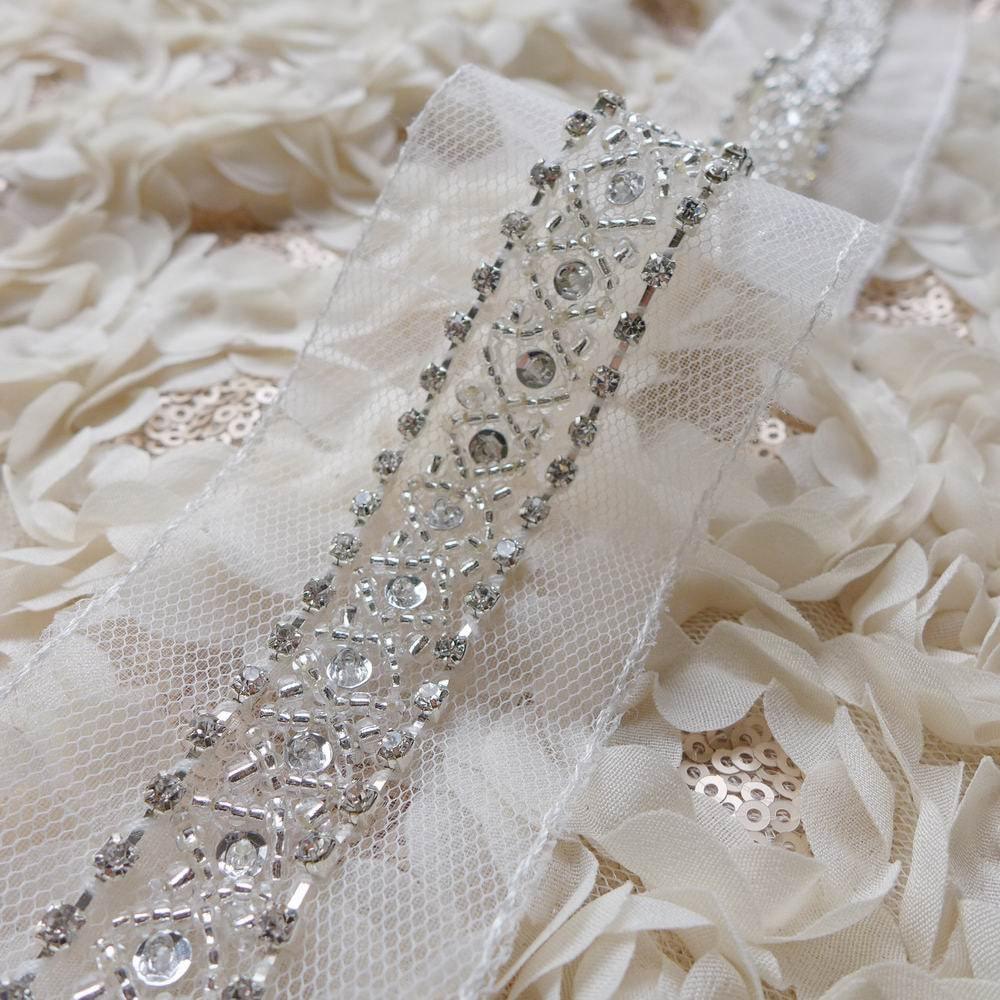 luxury crystal beaded lace trim rhinestone trim 1 9. Black Bedroom Furniture Sets. Home Design Ideas