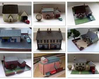 9 N Gauge Model Card Buildings. Pub, Shops and more