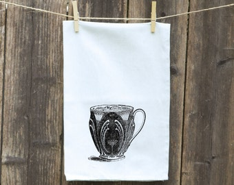 Tea Cup Dish Towel, Gift for Cook, Funny Kitchen Towel, Bar Rag, Hostess Gift, Housewarming Gift, Tea Towel- Flour Sack Towel, Wedding