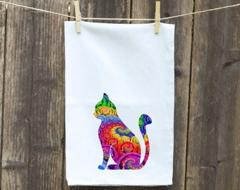 Cat Kitchen Towel, Cat Towel, Custom Cat Towel,Fun Cat Towel, Pet Towel, Flour Sack Towel-Cat Kitchen Towel-Custom-Beautifully Colored Cat