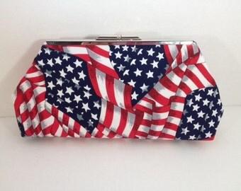 American Flag Clutch Purse with Nickel/Silver Finish Snap Close Frame, Americana Bag, Stars Stripe Clutch, Red White Blue Purse