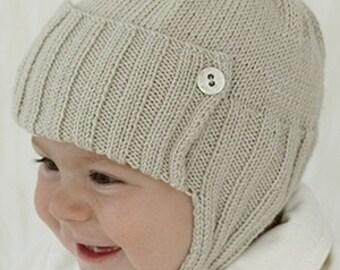 BABY BOY: Soft Knit Baby Hat, Aviator Knit Hat, Baby Knit hat, sizes from Newborn