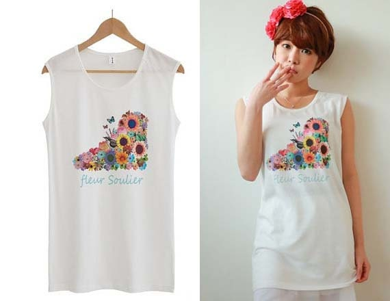 Womens sleeveless t shirts flower tee graphic t shirt white for Sleeveless graphic t shirts