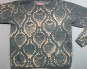 Powered By Creativity Gray Tan Sweatshirt w Crochet print  S