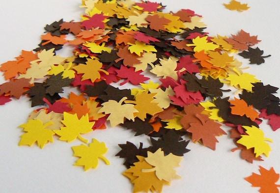 "Autumn Fall Leaves Confetti, 8 colors mix, 0.8"" 200 pcs"