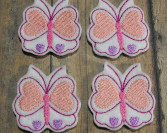 Valentine Heart Butterfly felties - Machine Embroidered - Felt Applique - Felt Embellishment - Hair bow Center