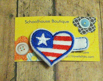 Heart Flag Felt Hair Clips (satin outline) - Felties - Feltie Hair Clip - Felt Hairbow - Felt Hair Clips - Felt Hair Clippie