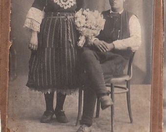 Antique Vintage Bulgarian Portrait CVD PHOTO with traditional costumes early 20th century 19 x 12 cm.