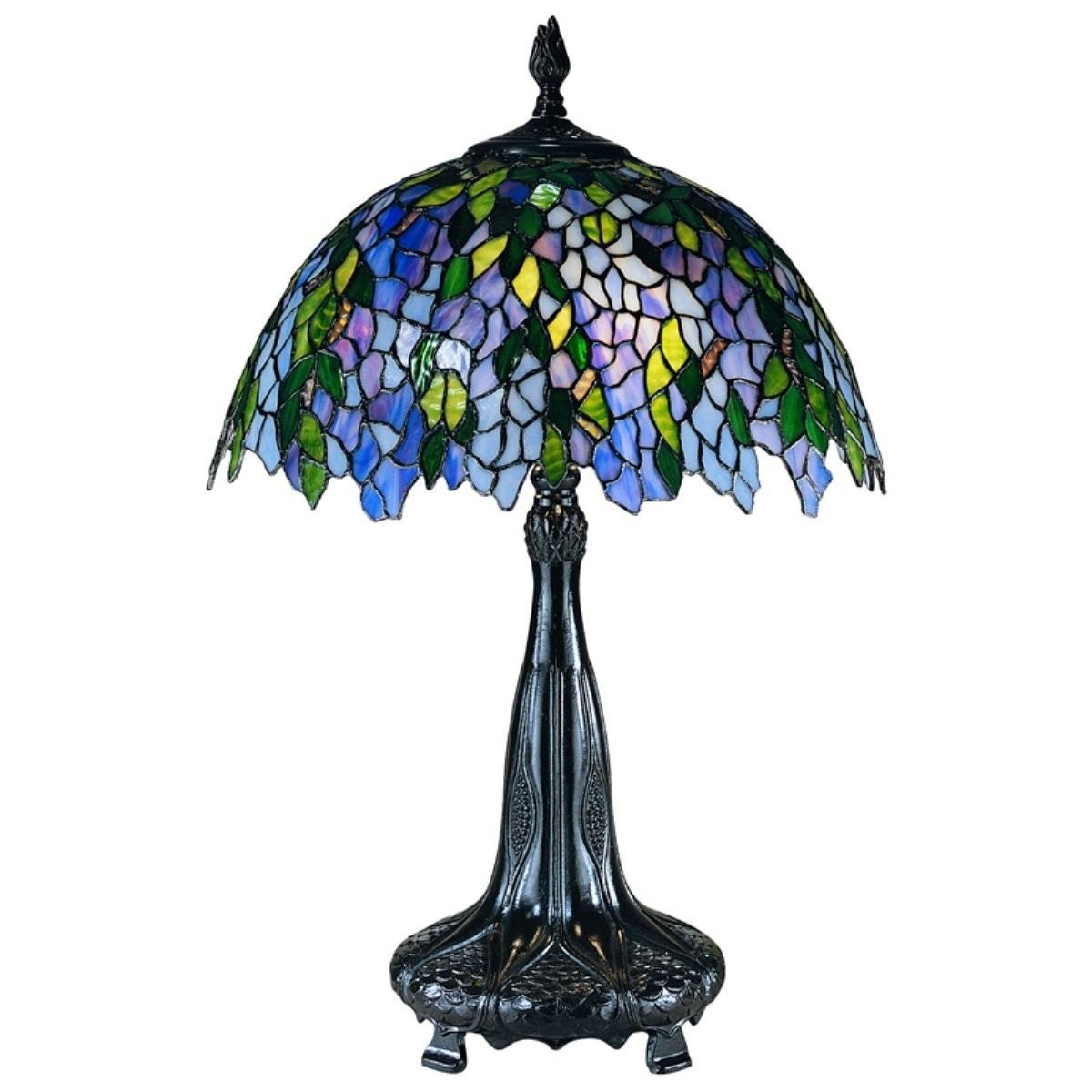 Vintage Tiffany Wisteria Table Lamp With Blue Green Shade