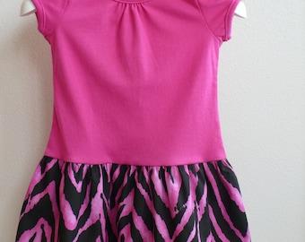 Toddler Girl T-Shirt Dress-Pink & Zebra