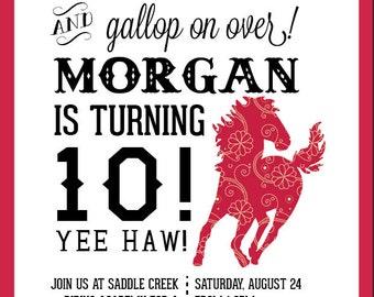 Fun Pink Equestrian Birthday Invitations