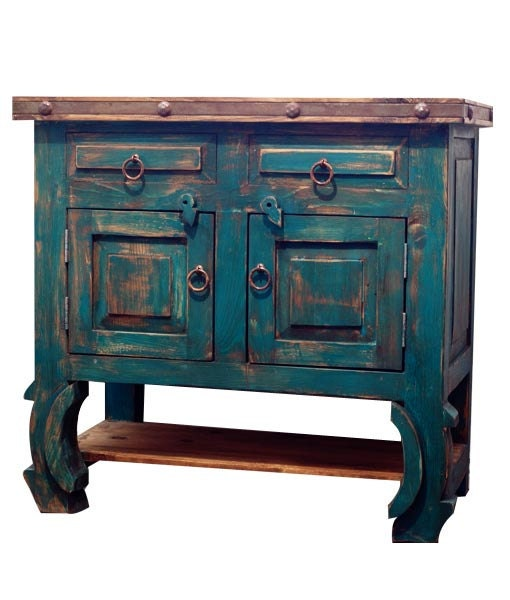 Rustic Turquoise Bathroom Vanity 14314 By Foxdendecor On Etsy