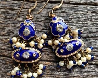 Enamel Indian inspired earrings (Cobalt Blue)
