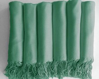 Pashmina shawl in Caribbean Green - Bridesmaid Gift, Wedding Favor - Monogrammable - sorority