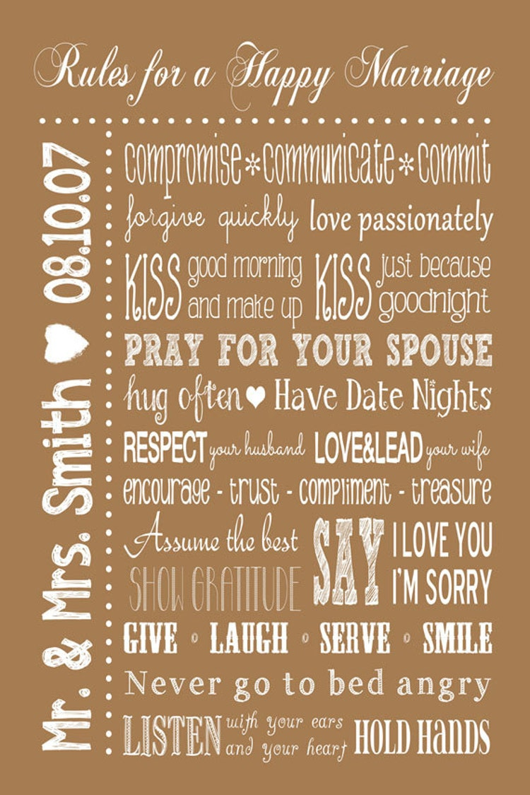 Rules For A Happy Marriage Sign Printable By Joyfulartdesigns
