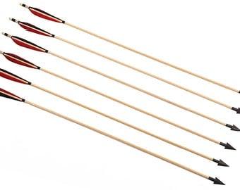 Longbowmaker 12PK Red And Black Turkey Feathers Cedar Wood Hunting Broadheads Archery Arrows WRBTH1