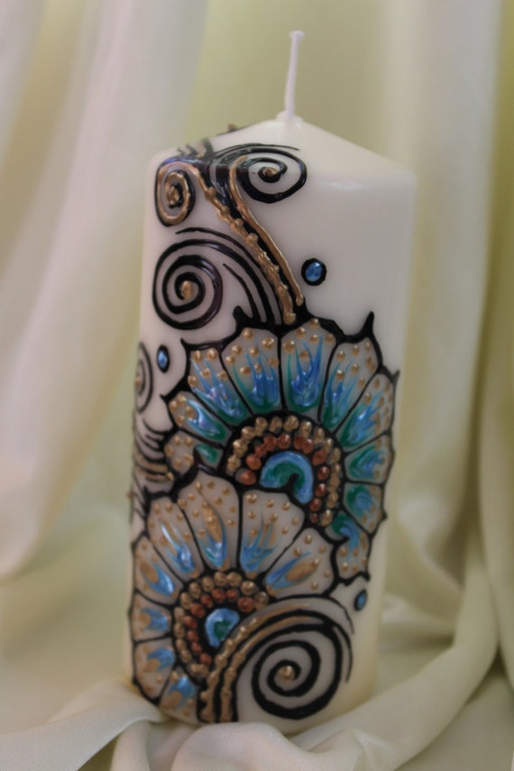 Decorative Mehndi Candles : Items similar to handpainted decorative henna candles with