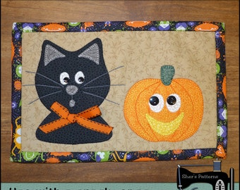 PDF Pattern for Halloween Mug Rug, Cat & Pumpkin Mug Rug Pattern, Cat Mini Quilt Pattern - Sewing Pattern, Tutorial, DIY