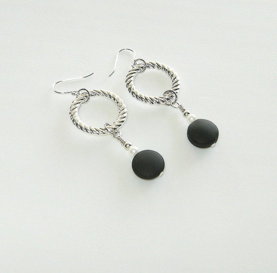 Black Sea Glass and Silver Earrings