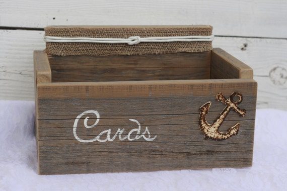 Nautical Wedding Gift Card Holder : Nautical Rustic Distressed Card Wedding Box Holder Anchor and Nautical ...