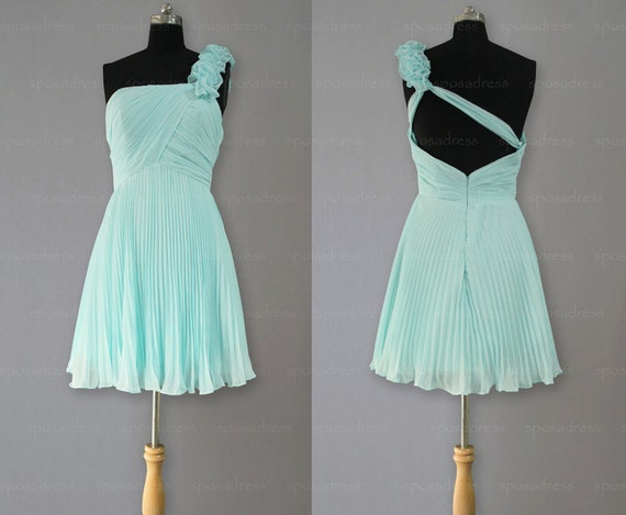 One shoulder prom dress, prom dresses, cheap bridesmaid dresses, tiffany blue prom dress, blue bridesmaid dress, evening dresses, RE263