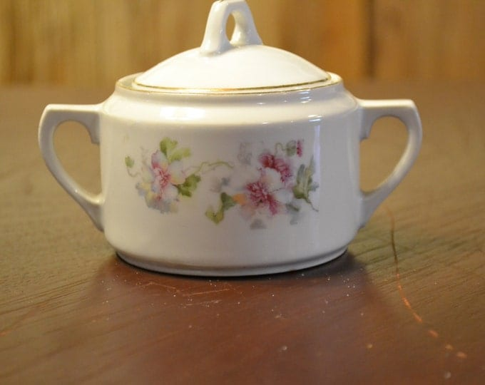 Vintage Sugar Bowl Made in Germany White Pink Flowers  PanchosPorch
