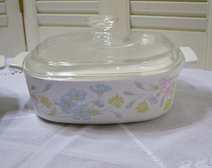 Vintage Corning Ware Pastel Bouquet Casserole with  Lid A-2-B 2 liter White Blue Pink Panchosporch