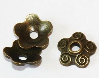 30 pcs Antique Bronze Bead Caps 10 mm, Lead, Nickel & Cadmium Free Jewelry Findings, metal findings