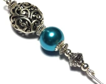 """5"""" Teal Turquoise Glass Pearl Hat Pin Vintage Tibetan Antique Silver Style - With Pin Protector (HP3-18)"""