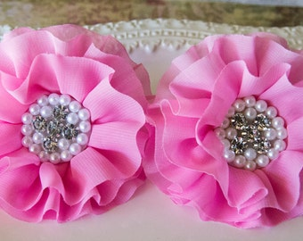 Pink Chiffon Hair Clip/ Pink Fabric Flower with Rhinestones and Pearls/ Girls Hair Clip/ Hair Bow Wedding