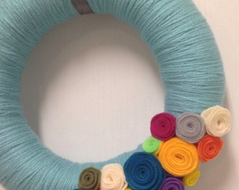 Spring Yarn Wreath - Easter Yarn Wreath - Felt Flower Wreath - Yarn Wreath - Felt Yarn Wreath - Spring Wreath - Spring Door Hanger