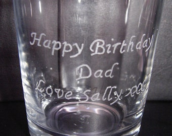 Personalised Hand Engraved Whiskey Glass Engraved With Happy Birthday