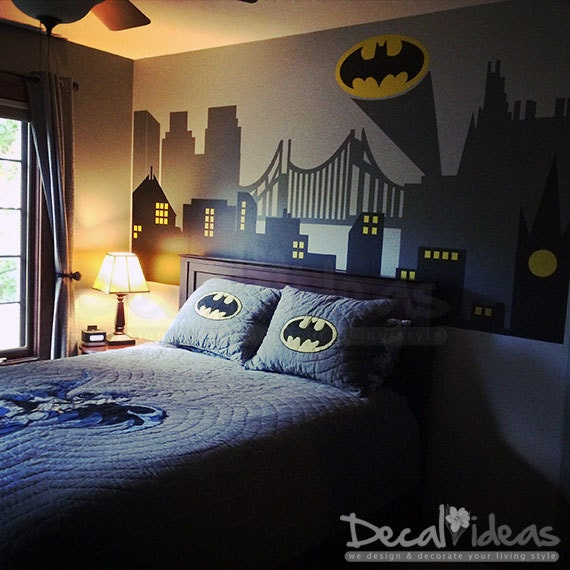 batman sticker city skyline city wall decal batman wall decal