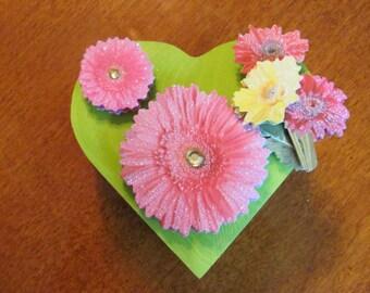 Flowered, wood, neon trinket box