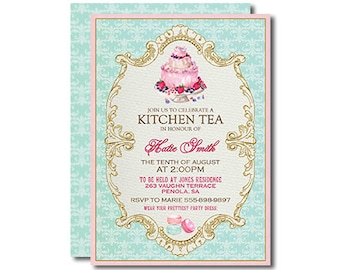 Kitchen Tea Invitation Tea Party Pink Aqua Turquoise Gold Printable DIY French style 5x7 inch